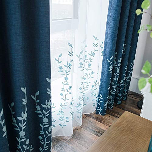Melodieux Flower Embroidery Sheer Curtain