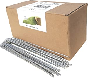 MTB 200 Pack 8x1 inch 11GA(0.12inch) Sod Staples Garden Pins Netting Stakes Ground Spikes Landscape Cover Pegs Anti-Rust Galvanized