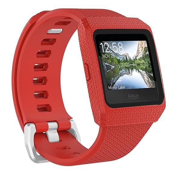 YOUKESI Fitbit Ionic Bands Large, Funda Protectora a Prueba de Golpes con Correa de Repuesto Band para Fitbit Ionic Fitness Smart Watch (Blanco/Negro ...
