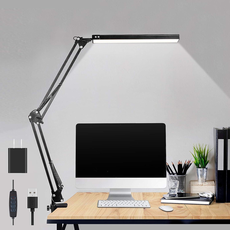 LED Desk Lamp,ibaye Adjustable Metal Swing Arm Desk Lamp with Clamp,Eye-Caring Architect Desk Light,3 Color Modes 10 Brightness Levels,Memory Function Desk Lamps for Home Office,10W-Black