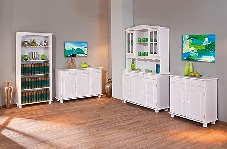 Credenza Vetrina Per Cucina : Credenza vetrina cucina legno pino massiccio bianco ante amazon