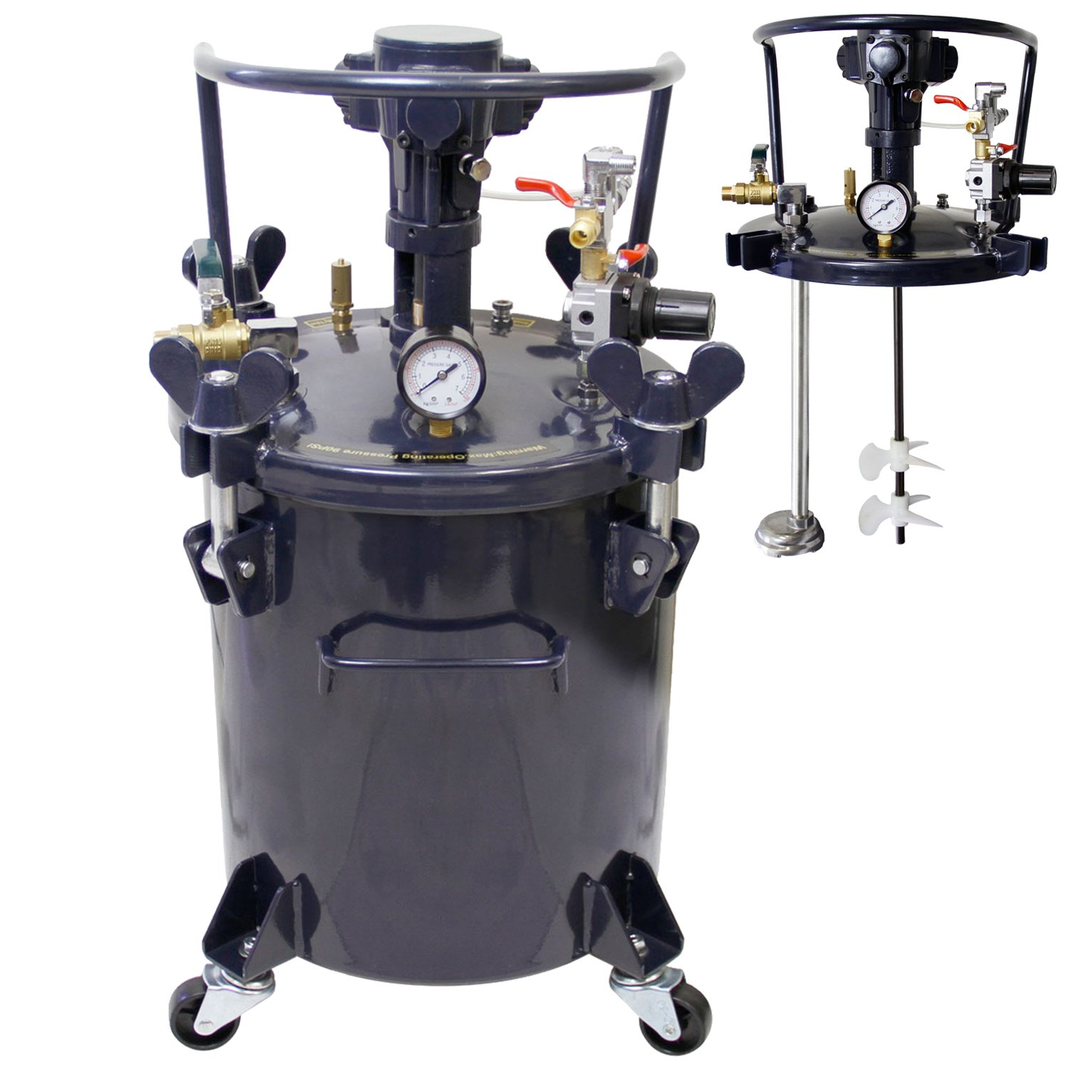 TCP Global Commercial 8 Gallon (30 Liters) Spray Paint Pressure Pot Tank with Air Powered Mixing Agitator by TCP Global