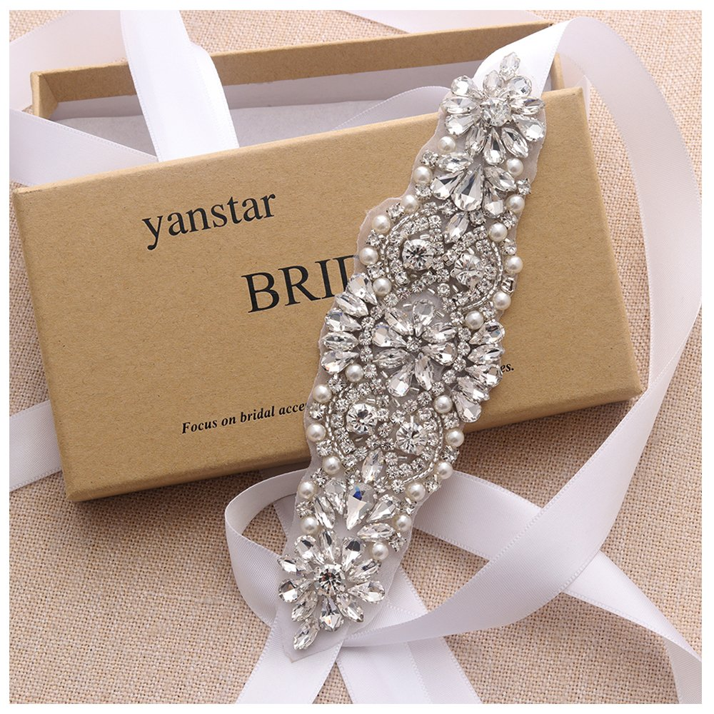 Yanstar Silver Crystal Beads Rhinestone Wedding Bridal Belt Sash With White Ribbon For Wedding Dress