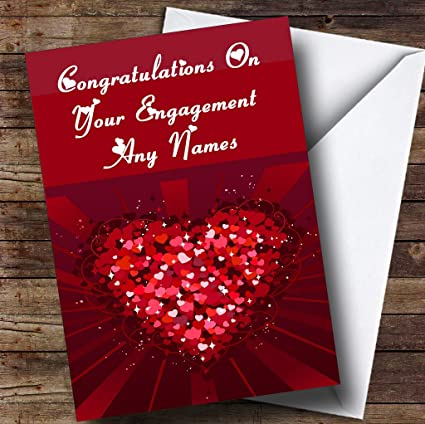 Amazon pink and red love hearts romantic personalized pink and red love hearts romantic personalized engagement greetings card m4hsunfo