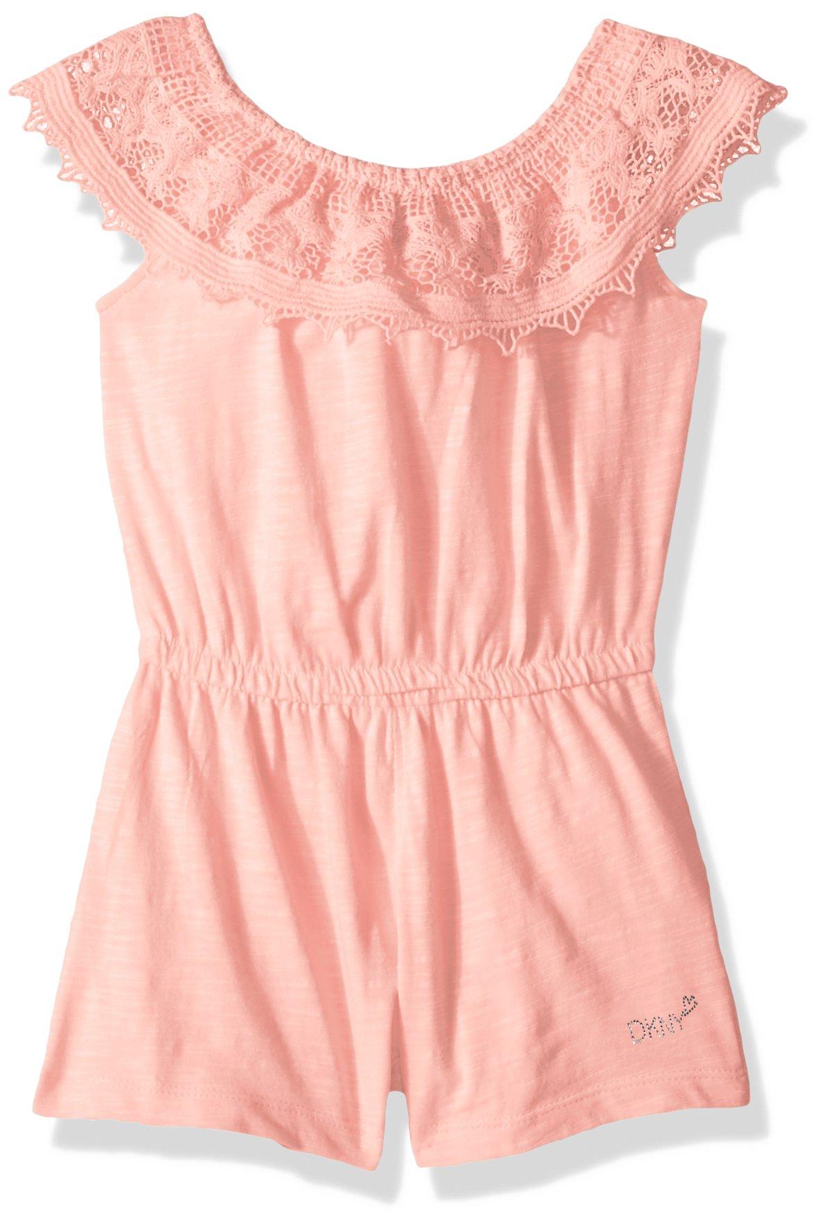 DKNY Big Girls' Romper, Knit Crochet Ruffle Crystal Rose, 8