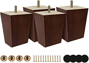 Wood Couch Legs 3 inch - Wooden Made Tapered Replacement Furniture Leg for Ottoman Accent Chair Dresser Pack of 4