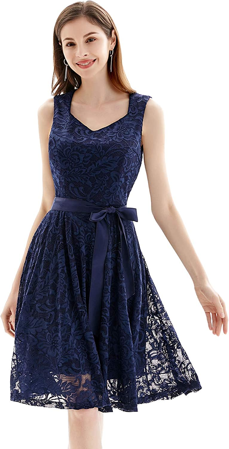 Gardenwed Women's Floral Lace Cocktail Party Dress V-Neck Knee Length Sleeveless for Wedding Guest Bridesmaid