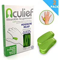 Aculief - Award Winning Natural Headache, Migraine and Tension Relief - Wearable Acupressure - Stress Alleviation - Simple, Easy & Effective 2 Pack - (Green)