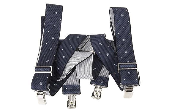 Bretelles homme INTARSI larges 3,5 cm motifs bleu avec clips  Amazon ... 2469fba2e6d4