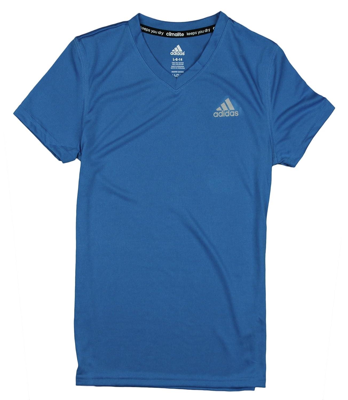 adidas Youth Big Girls Climalite Short Sleeve Athletic V-Neck Shirt