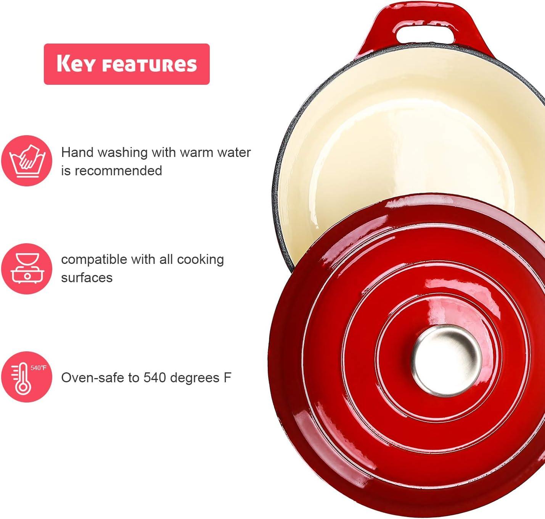 Puricon Cocotte Fonte Ronde Cuisson Plus S/ûre et Plus Facile 5.2 L pour 6-7 Personnes Conserver Les Valeurs Nutritionnelles et Les Saveurs 26 CM Cocotte Polyvalente en Fonte Emaill/ée Casserole