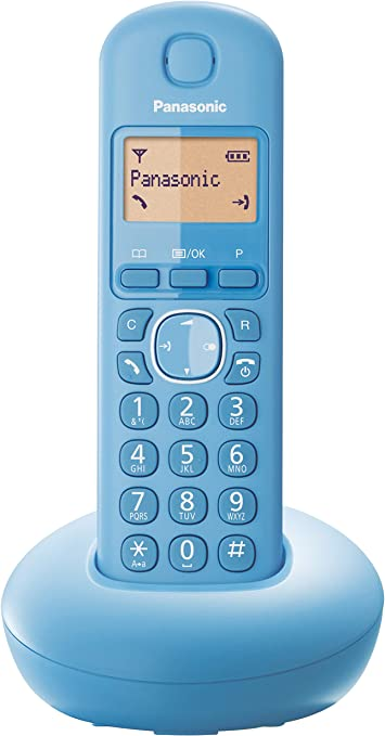 Panasonic KX-TGB210 - Teléfono fijo inalámbrico (LCD, identificador de llamadas, agenda de 50 números, tecla de navegación, alarma, reloj), Azul, TGB21 Solo: Amazon.es: Electrónica