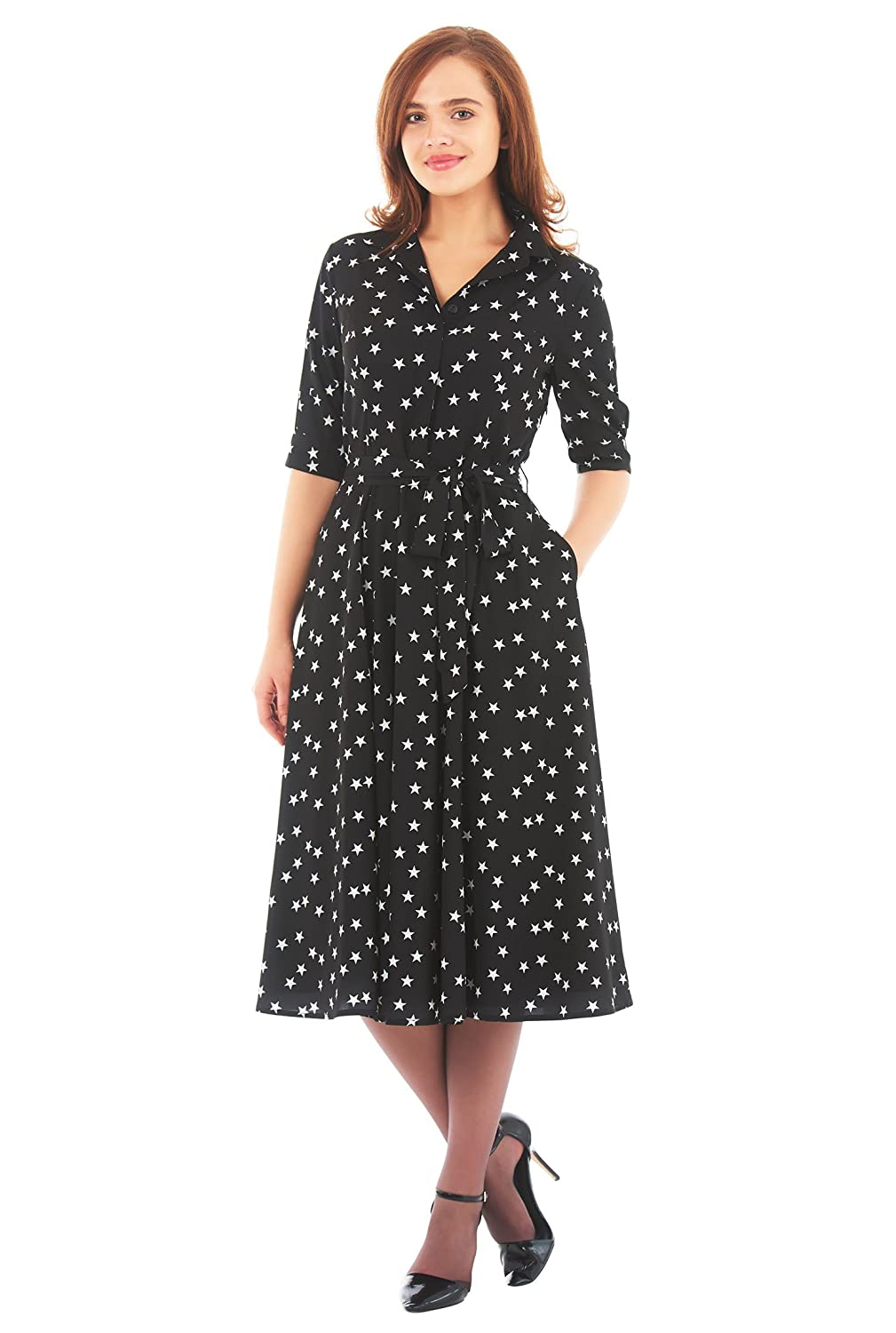 1940s Style Dresses | 40s Dress, Swing Dress Star print crepe sash tie shirtdress $64.95 AT vintagedancer.com