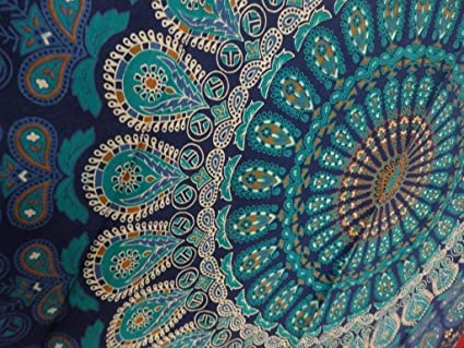 Tapestry Wall Hanging Mandala Tapestries Indian Cotton Bedspread Blue Color Theme Picnic