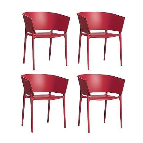 Vondom Africa - Set de 4 sillones Rojo/Mate/H x W: 75 x 58cm ...