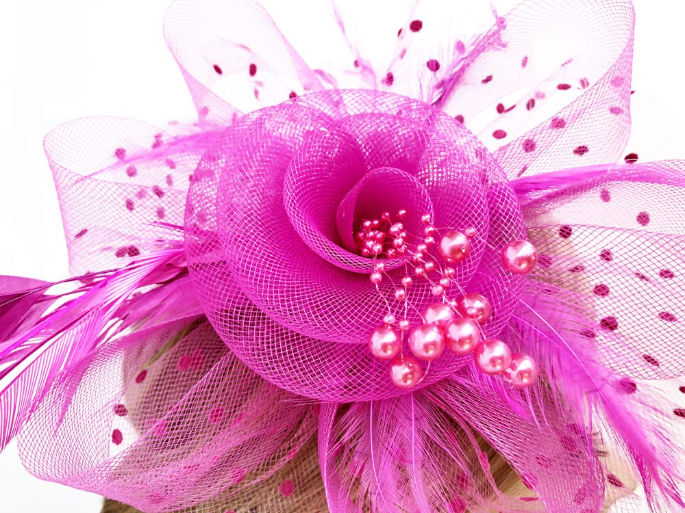 Flower Cocktail Tea Party Headwear Feather Fascinators Top Hat for Girls and Women (Fushia) by Kathyclassic (Image #7)