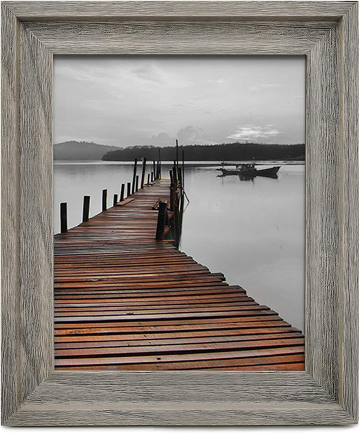 Wide Shabby Chic Rustic Wood Grain Effect Picture Frame Photo Frame With Mount