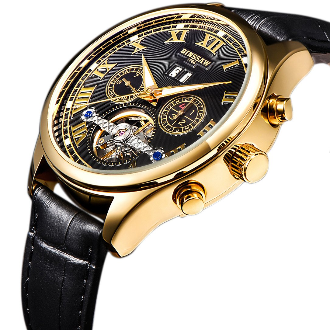 50011357c Amazon.com: BINSSAW Men Automatic Mechanical Tourbillon Watch Brand Leather  Gold Fashion Casual Stainless Steel Sports Wrist Watches for Male: Watches