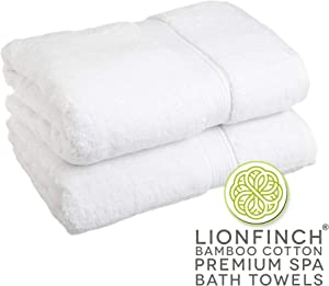LionFinch Premium Bath Towels- Bamboo and Cotton- 2 Count. Extra Large 70 inches Long by 35 Inches Wide. Super Soft and Ultra Absorbent. Designed for High End Hotels and Luxury Spas.