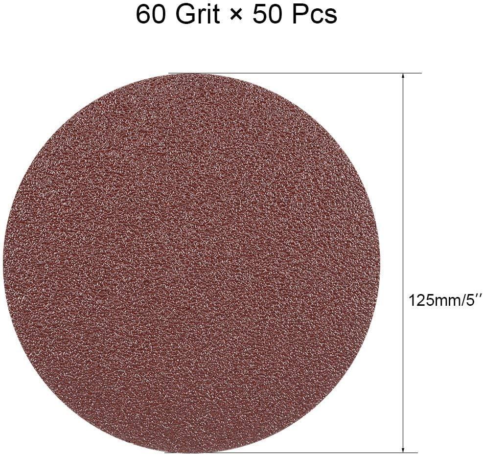 50Pcs 5-inch Hook and Loop Sanding disc 60 Grained Sandpaper for Random Orbit Sander Brown