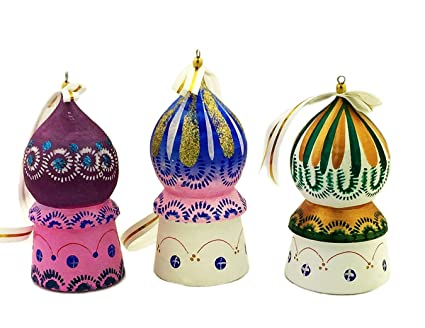 Religious Gifts Set Of 3 Wooden Russian Christmas Ornaments Church Domes 3 Inch