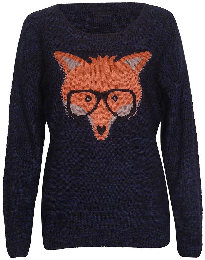 Rimi Hanger Women's Fox Glasses Knitted Pullover Sweater Jumper Top Black Small