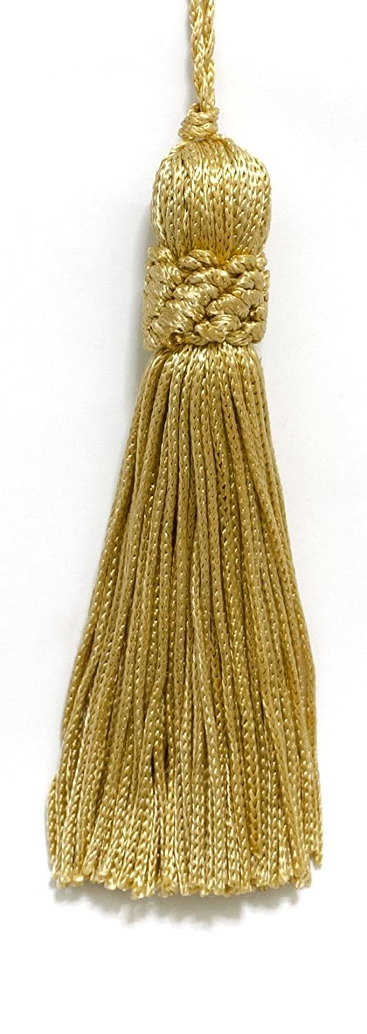 Set of 10 Light Gold Crown Head Chainette Tassel, 4 Inch Long with 2 Inch Loop, Basic Trim Collection Style# CT04 Color: Light Gold - B7 DecoPro