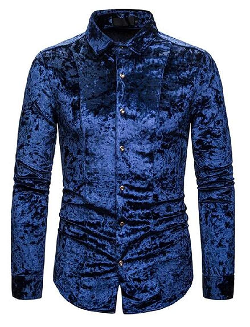 YYG Men Slim Button Down Long Sleeve Pleuche Casual Business Dress Shirt