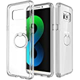 Galaxy S8/S8 + Fall, jemache stoßfest CLEAR CRYSTAL HARD Backpanel Soft TPU Bumper Case für Samsung Galaxy S8/S8 Plus mit Ring Halter Ständer