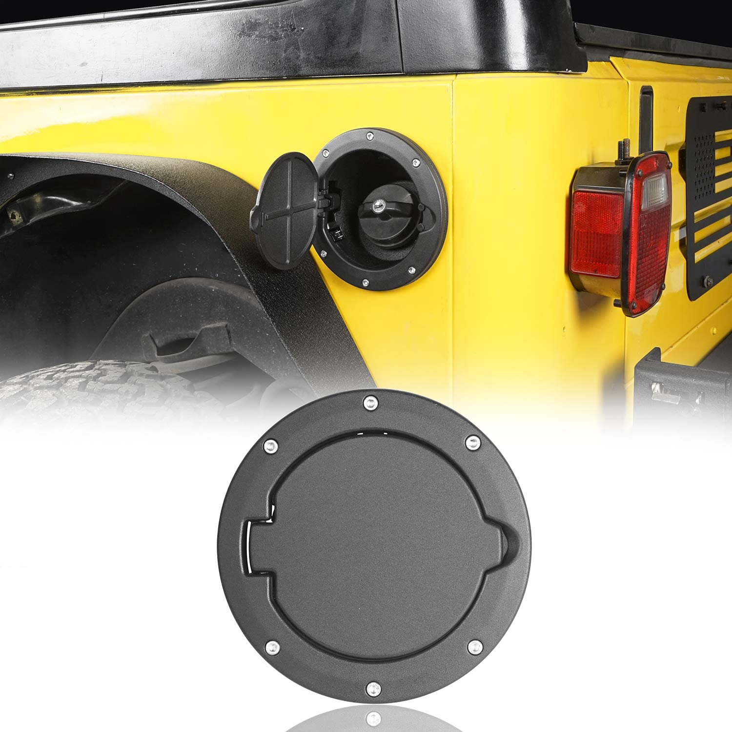 Rugged Ridge 11229.01 Black Powder-Coated Non-Locking Gas Door Cover for 1997-2006 Jeep Wrangler TJ