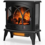 TURBRO Suburbs TS23-C Electric Fireplace Infrared Heater with Curved Door- Freestanding Fireplace Stove with Adjustable Flame