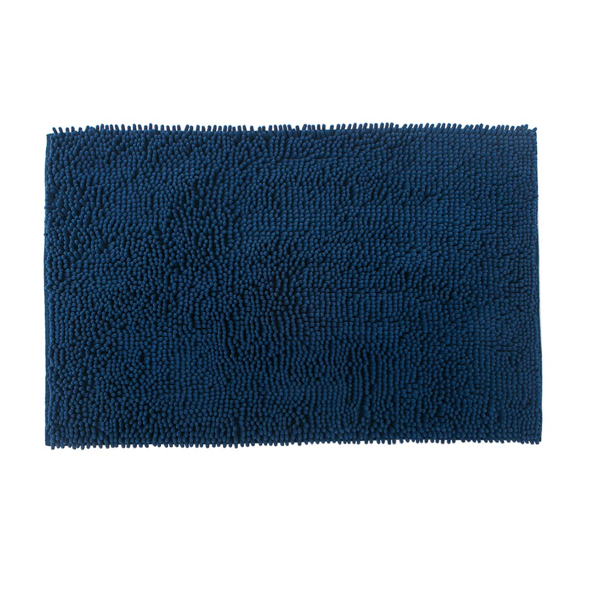 Famibay Bath Mat, Shaggy Chenille Bath Mat Microfiber Hotel Spa Bath Rug and Mat For Bathroom No slip Bath Tub and Shower High Absorbent Soft Large Accent Rugs, 23.6x35.4 Inches Navy