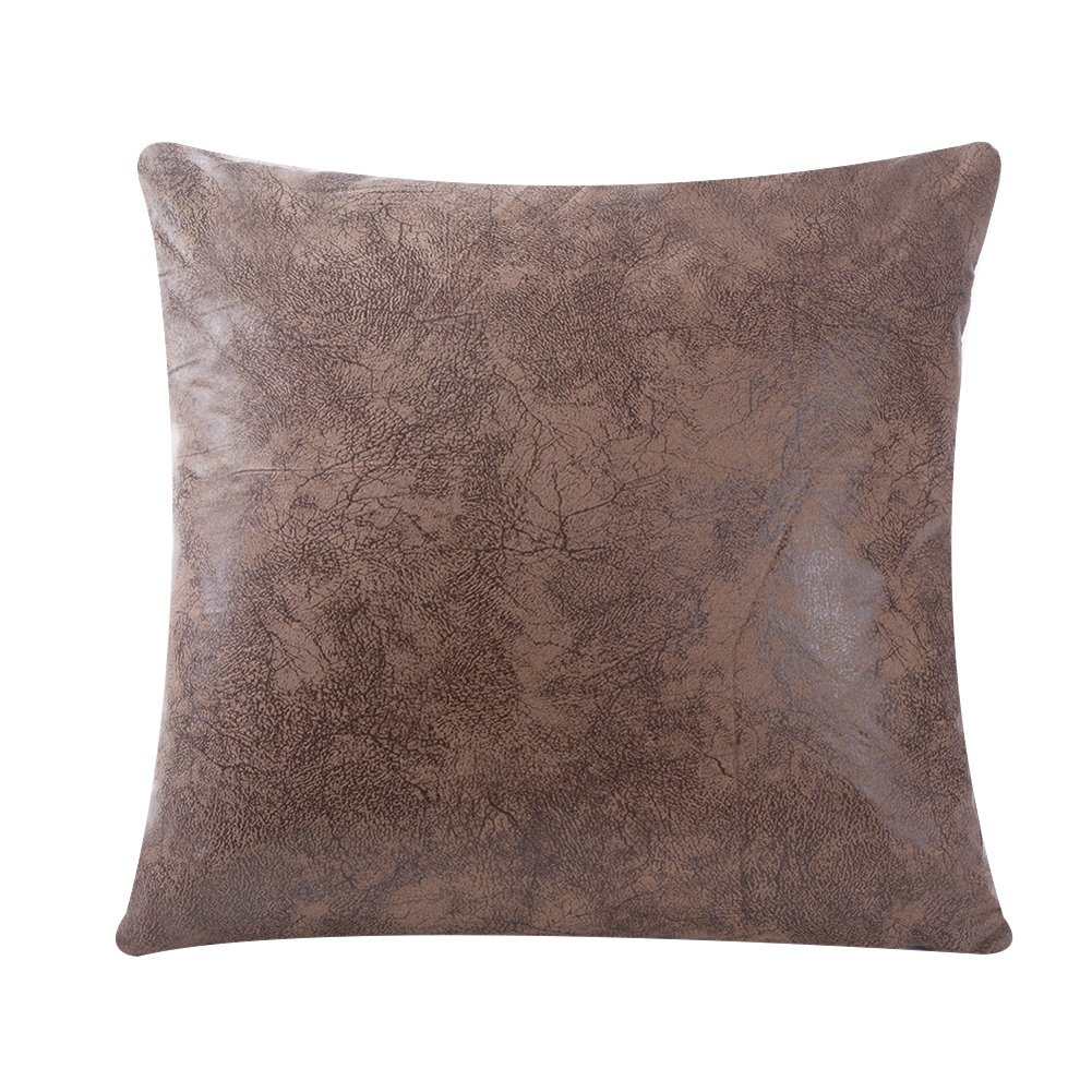 WFLOSUNVE Soft Faux Leather Pillow Cover Tan Decorative Throw Pillow Case Cushion Cover for Couch and Sofa 20x20 Inch (Light Brown)
