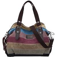 Coofit Handtaschen, Multi-Color-Striped Damen Handtasche Umhängetasche Schultasche Canvas Shopper Tasch