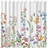 Funnytree Floral Plant Watercolor Flower Shower Curtain Set with Hooks Bohemian Home Bathroom Bathtubs Decor Easy Care Machin