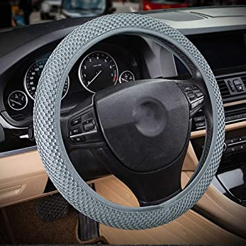 DC Microfiber Leather Anti-slip Universal 15//38cm COFFE Car Steering Wheel Cover