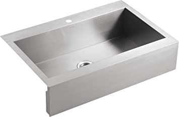 Kohler Vault Single Bowl 18 Gauge Stainless Steel Apron Front Single Faucet Hole Kitchen Sink Top Mount Drop In Installation K 3942 1 Na Tools Home Improvement Amazon Canada