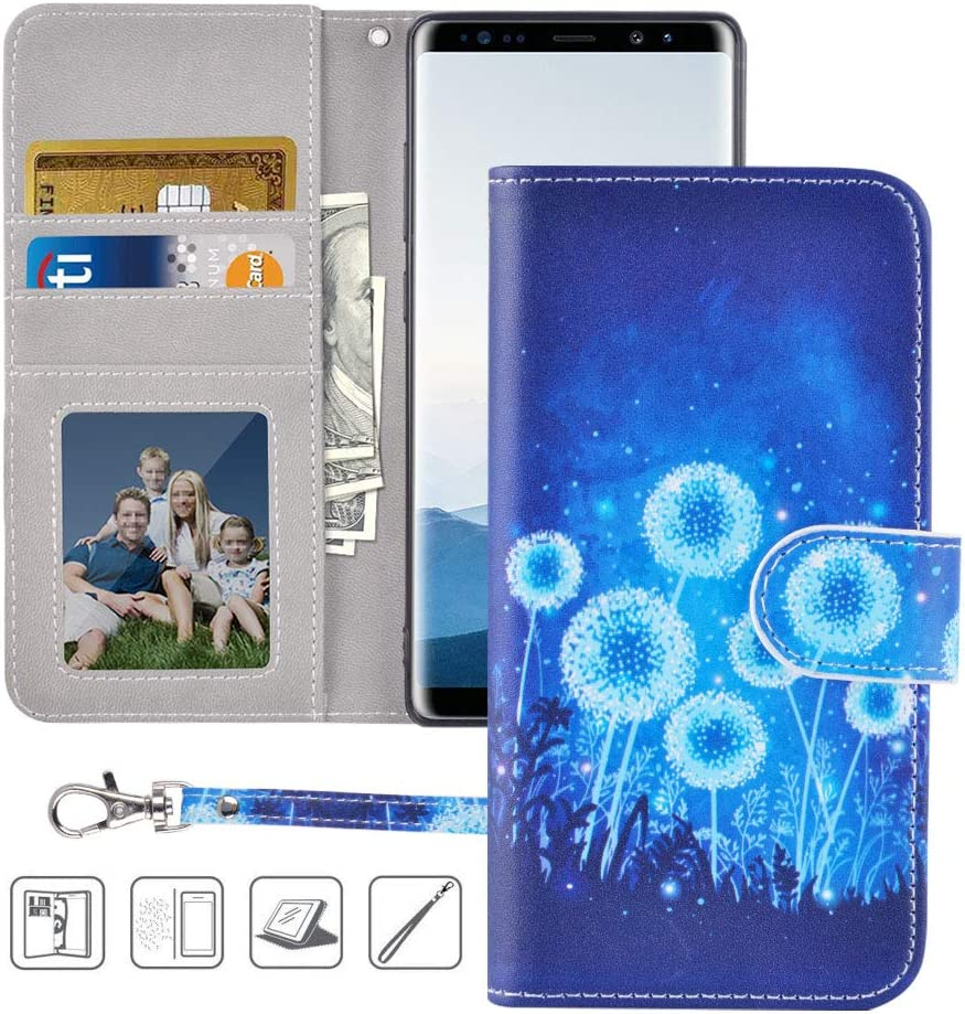 Galaxy Note 8 Wallet Case,Note 8 Case,MagicSky Premium PU Leather Flip Folio Case Cover with Wrist Strap,Card Slots,Cash Pocket,Kickstand for Samsung Galaxy Note 8 (Dandelion)