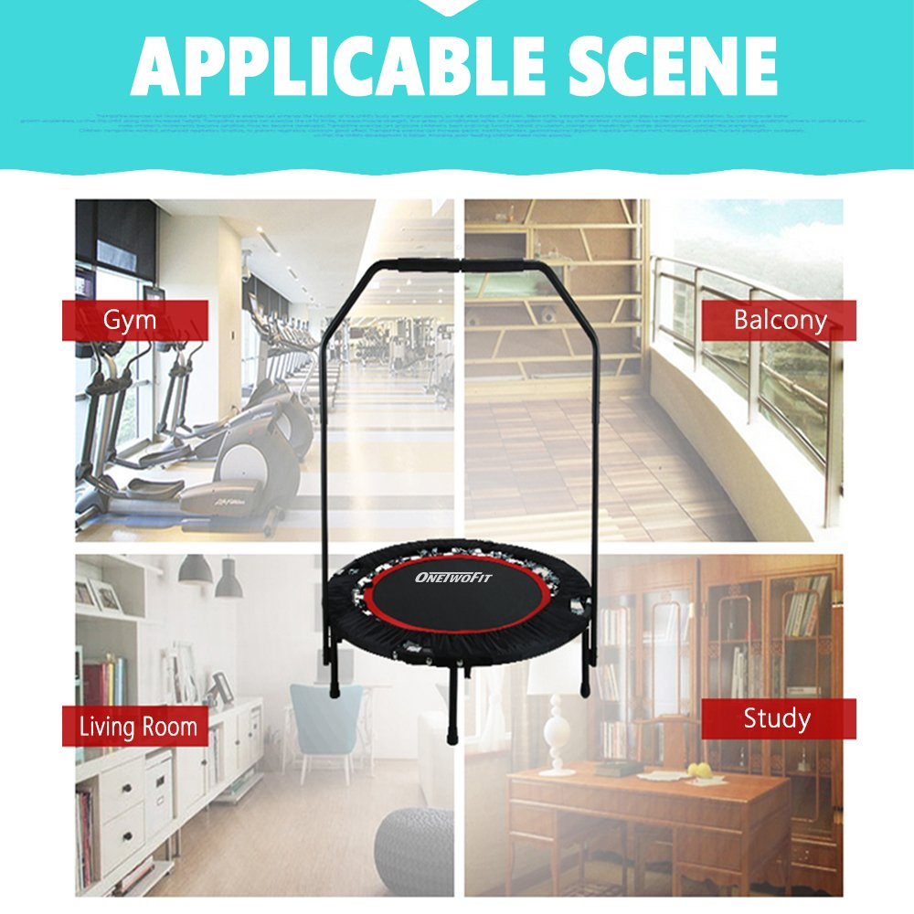 OneTwoFit 40'' Indoor Trampoline with Handrail,Foldable Fitness Trampoline for Adults,Rebounder Trampoline Exercise Trampoline for Indoor/Garden/Workout Cardio OT017 by ONETWOFIT (Image #9)
