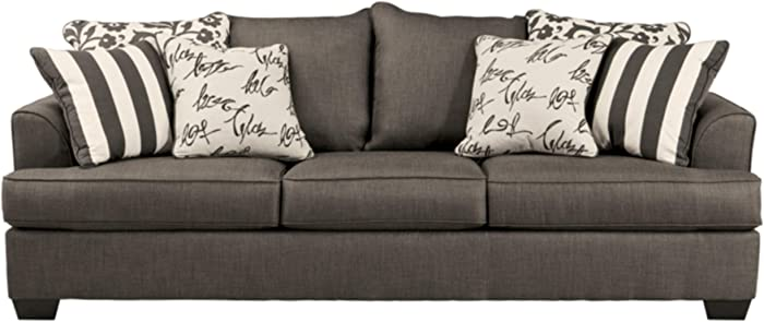 Signature Design by Ashley - Levon Sleeper Sofa w/ 6 Accent Pillows - Queen Size, Charcoal