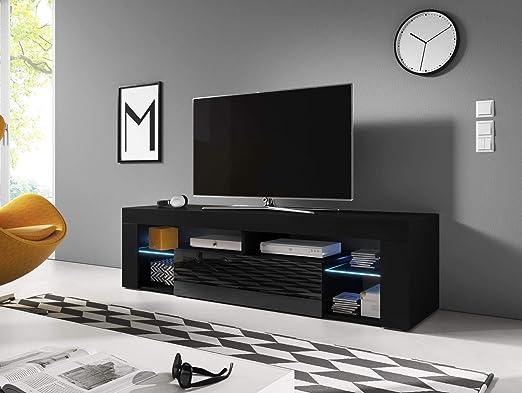 VIVALDI Mueble para TV - EVEREST - 160 cm - Negro Mate con Negro Brillante con iluminación LED Azul - Estilo Design: Amazon.es: Juguetes y juegos