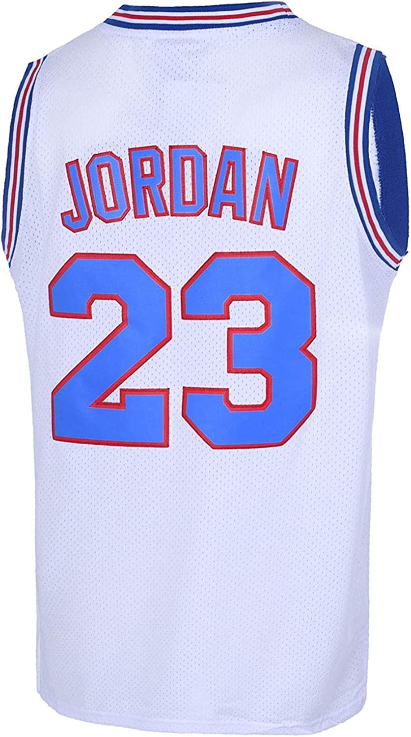 Mens 23 Space Jam Movie Jersey Tune Squad Basketball Jersey S-XXXL White//Black Stitched