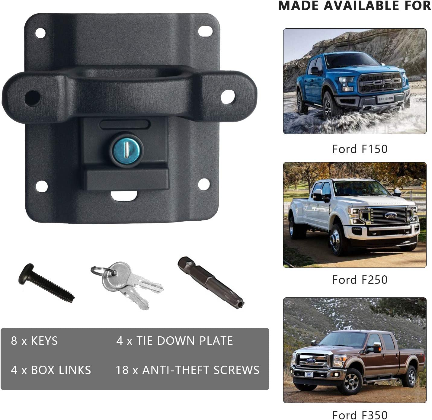 4 Pack Nstarsmotor Truck Tie Down Anchors Perfect Replacement for Ford 2015-2020 F150 F250 F350 Boxlinks /& Tie Down Plates FL3Z-9928408-AB FL3Z-99000A64-B