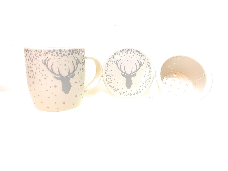 GILDE Tee Set Tasse Sieb Deckel Hirsch Design 3 TLG Potzellan Weiss