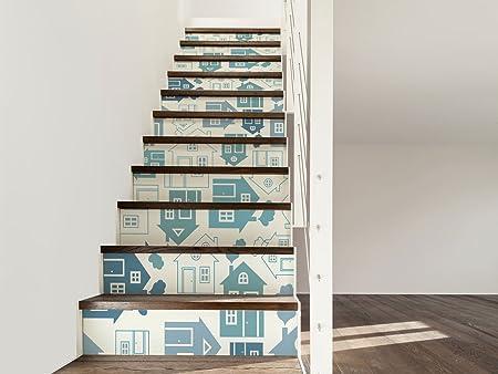 Vinilo para Escaleras Pegatinas de Vinilo Casas | 16 Pegatinas Adhesivas Para Paredes Escaleras | Vinilo Decorativo | Varias Medidas 80 x 18 cm | Escaleras | Decoración Escaleras Huellas Contrahuellas: Amazon.es: Hogar