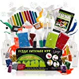 Ultimate Slime Kit Supplies Stuff for Girls and Boys DIY | Kids Make Glow In The Dark, Fluffy Slime & More! Includes Containers, Glue, Activator, Glitter, Floam Beads, Pigment Powder & Instructions