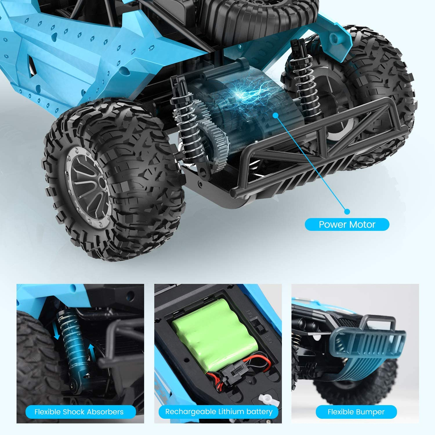 Tomzon Remote Control Car 2.4GHz Off Road Trucks with Shock Absorbers Anti-Slip Tires RC Toy for Kids /& Adults 1//16 Scale High Speed Car 30 Minutes of Battery Life