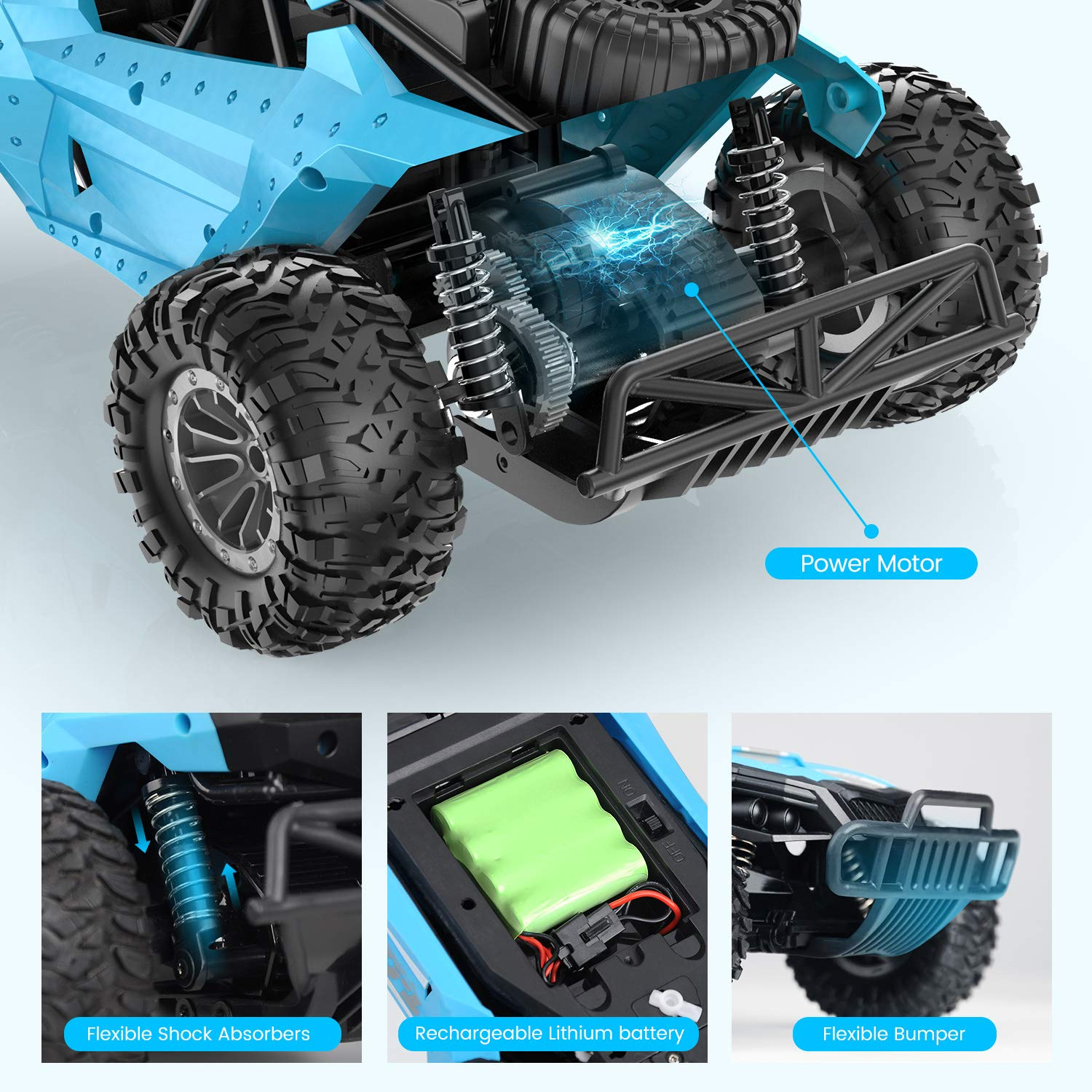 Tomzon Remote Control Car, 1/16 Scale High Speed Car, 2.4GHz Off Road Trucks with Shock Absorbers Anti-Slip Tires, 30 Minutes of Battery Life, RC Toy for Kids & Adults RTR