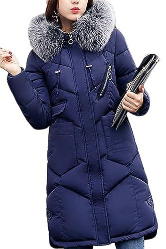 La Mujer Casual Con Capucha Peluda El Invierno Largo Acolchado Parkas Outwear