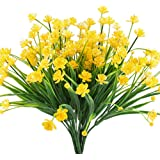Artificial Fake Flowers, Hogado 4pcs Faux Yellow Daffodils Greenery Shrubs Plants Plastic Bushes Indoor Outside Hanging Planter Wedding Cemetery Decor